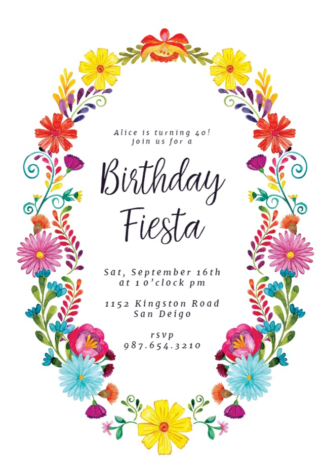 23 Fiesta Flower Wreath Birthday Invitation