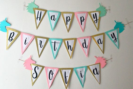 24 DIY Unicorn Birthday Banner