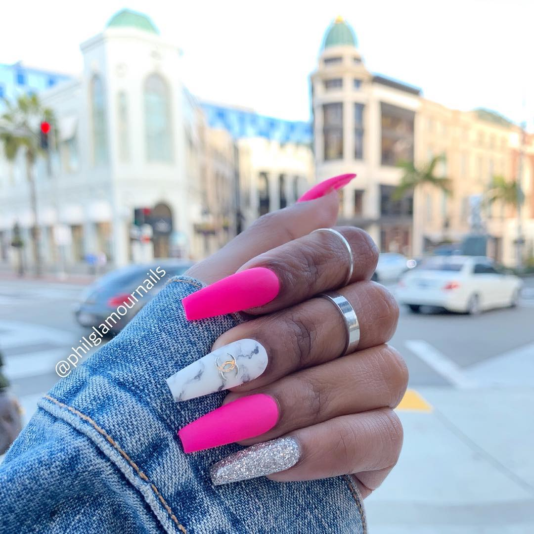 25 Pink Coffin Nail Designs