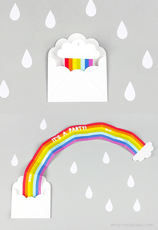 27 Surprise Rainbow Party Invitation