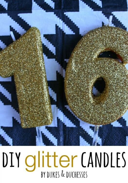 30 DIY Glitter Birthday Candle