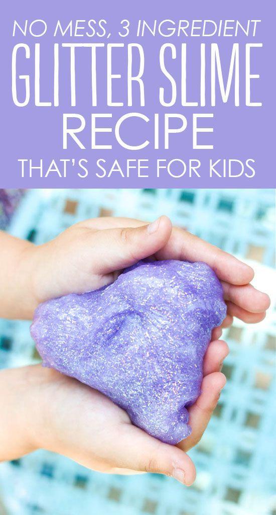 33 Mess Free Glitter Slime Recipe