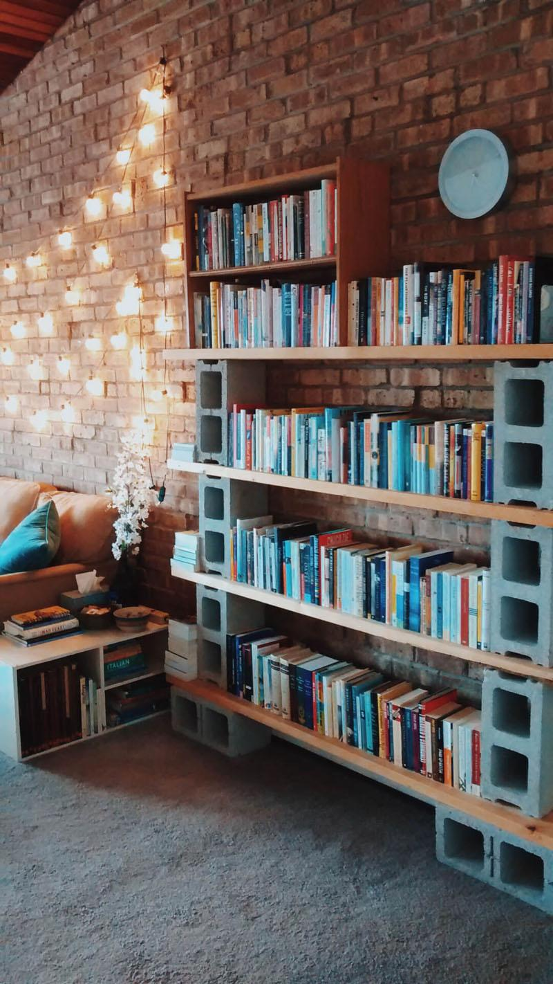 34 Easy Board and Cinder Block Book Shelf