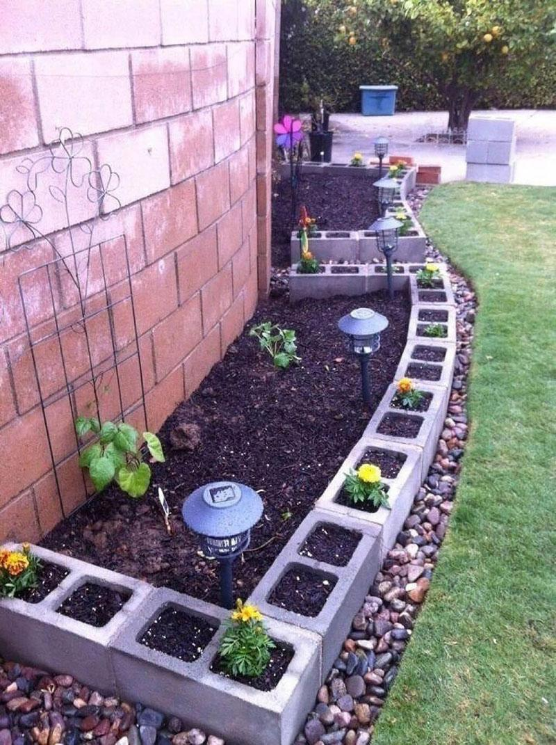 37 Versatile Cinder Block Planters and Garden Border