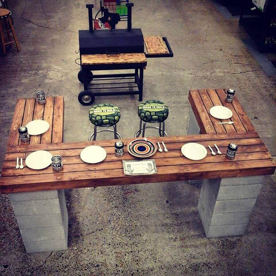 38 Chef Style Outdoor Patio Table with Cinder Blocks