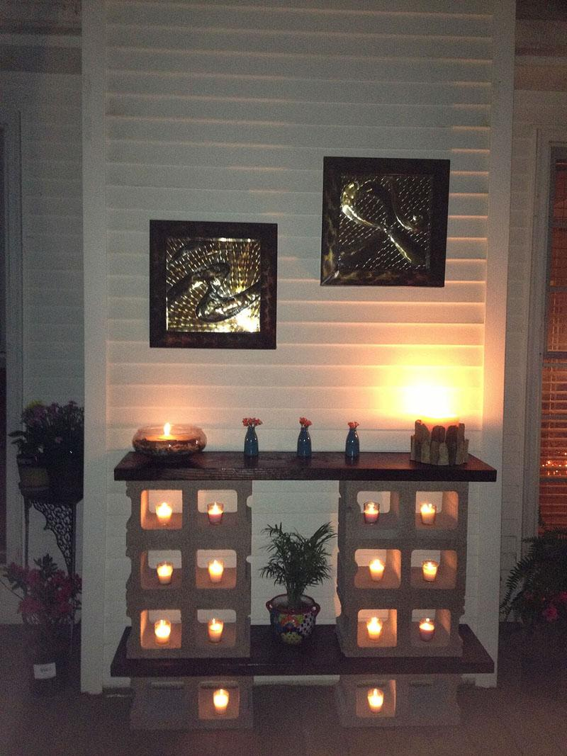 40 Cinder Block Luminary Fireplace