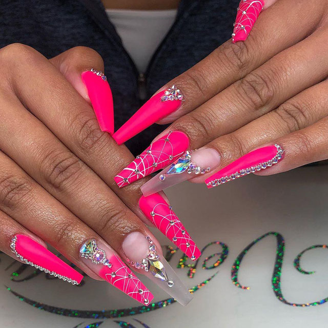 40 Pink Coffin Nail Designs
