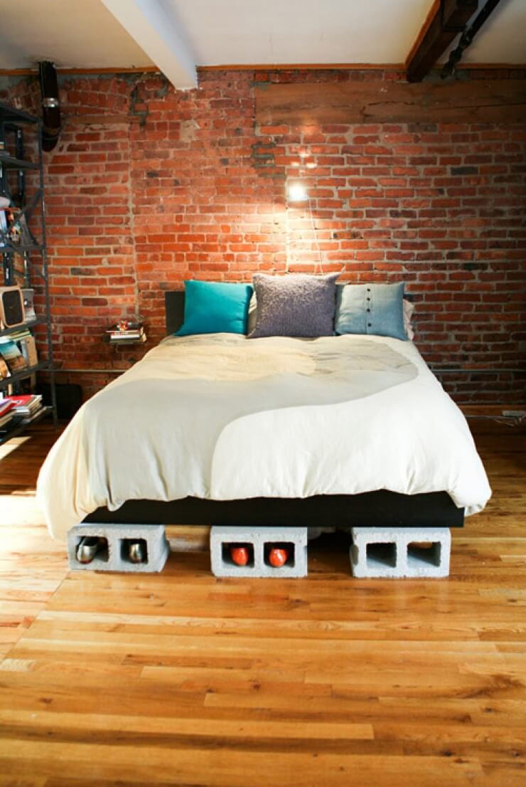 41 Cinder Block Platform Bed with Built in Shoe Storage