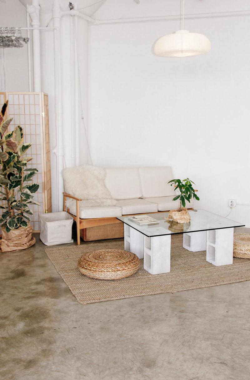 46 Simply Constructed Cinder Block Coffee Table