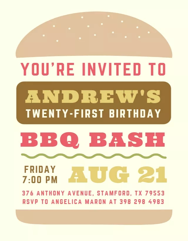 5 Burger BBQ Birthday Invitation