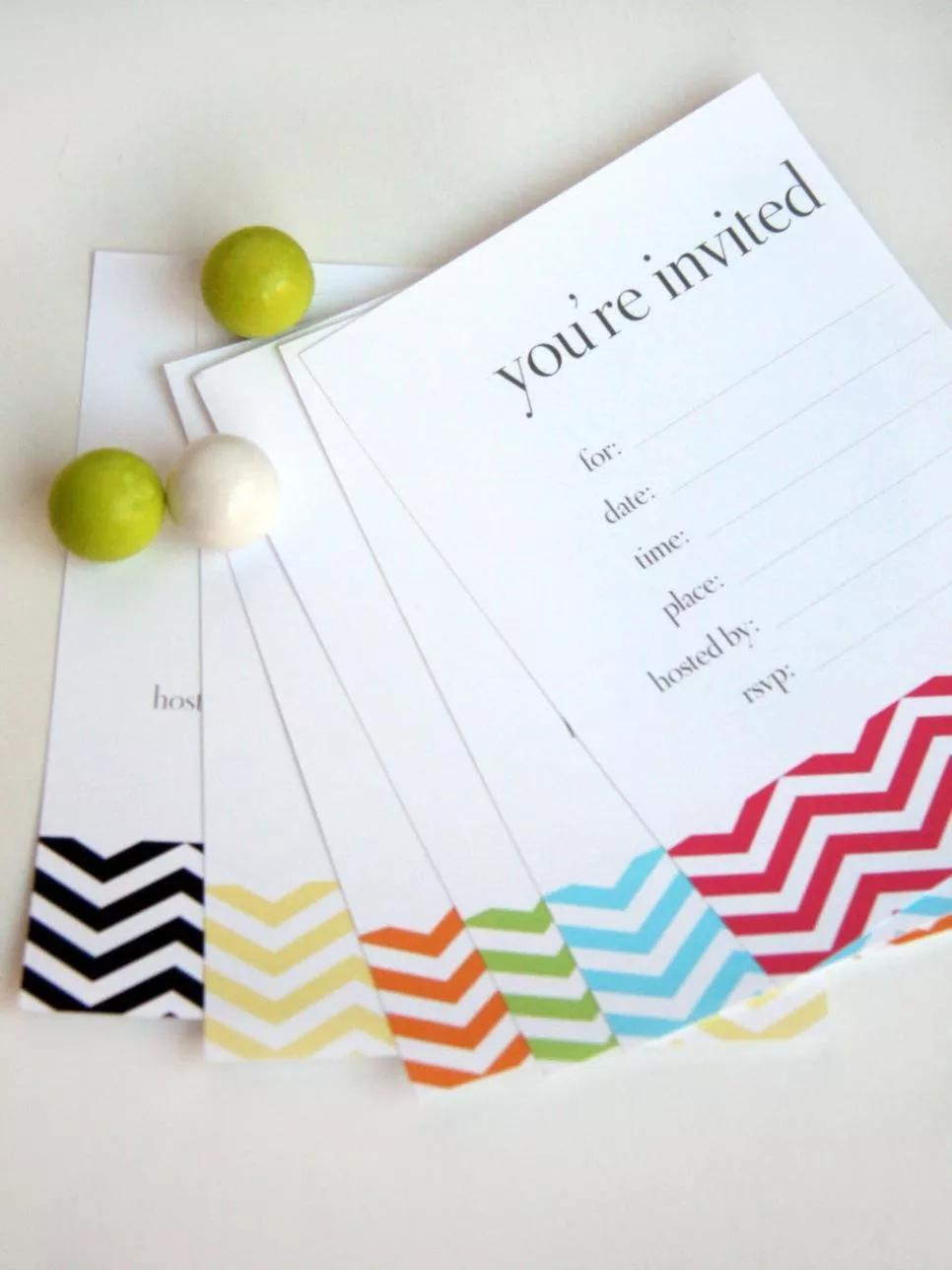 7 Colorful Chevrons Printable Birthday Invitation