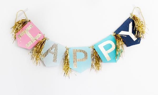 8 Gold letter fringe birthday garland