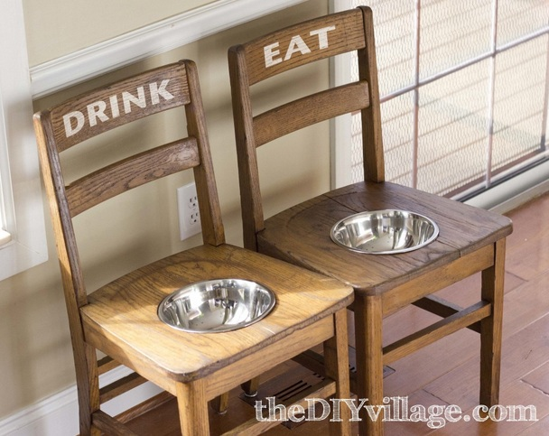 8 Turn Chairs Into Dog Feeders