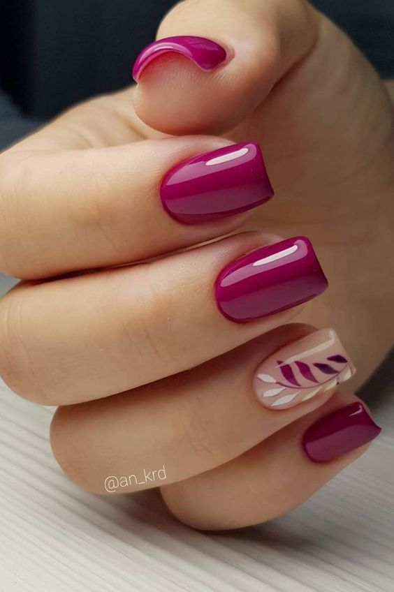 1 Leaf Nail Art Designs