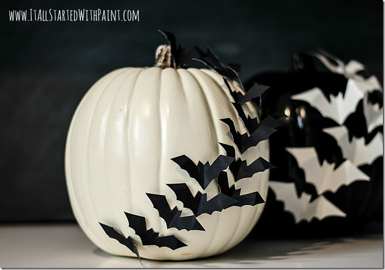 14 Bats Flying Across Pumpkin