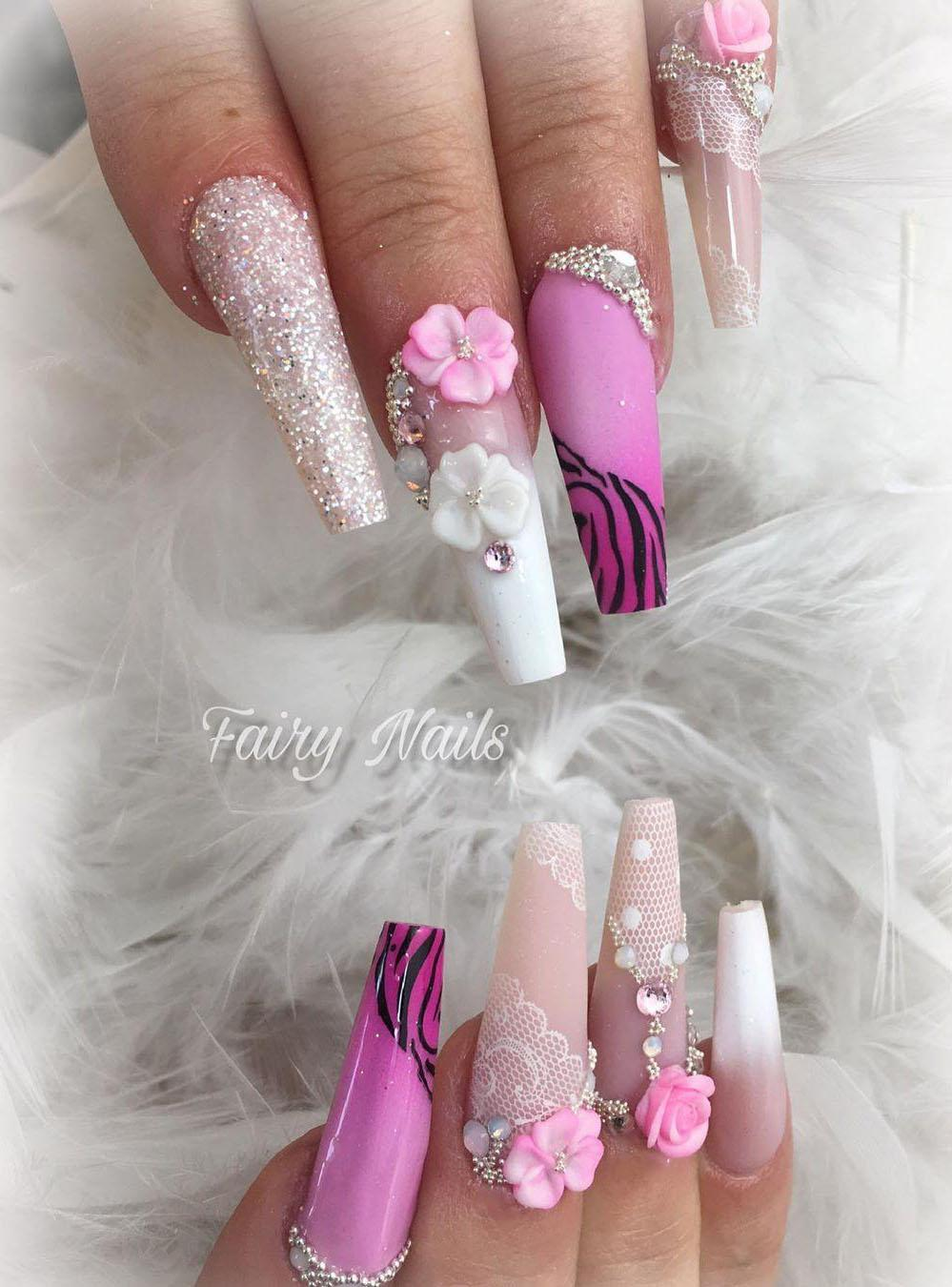 17 3D Flower Nail Art Designs