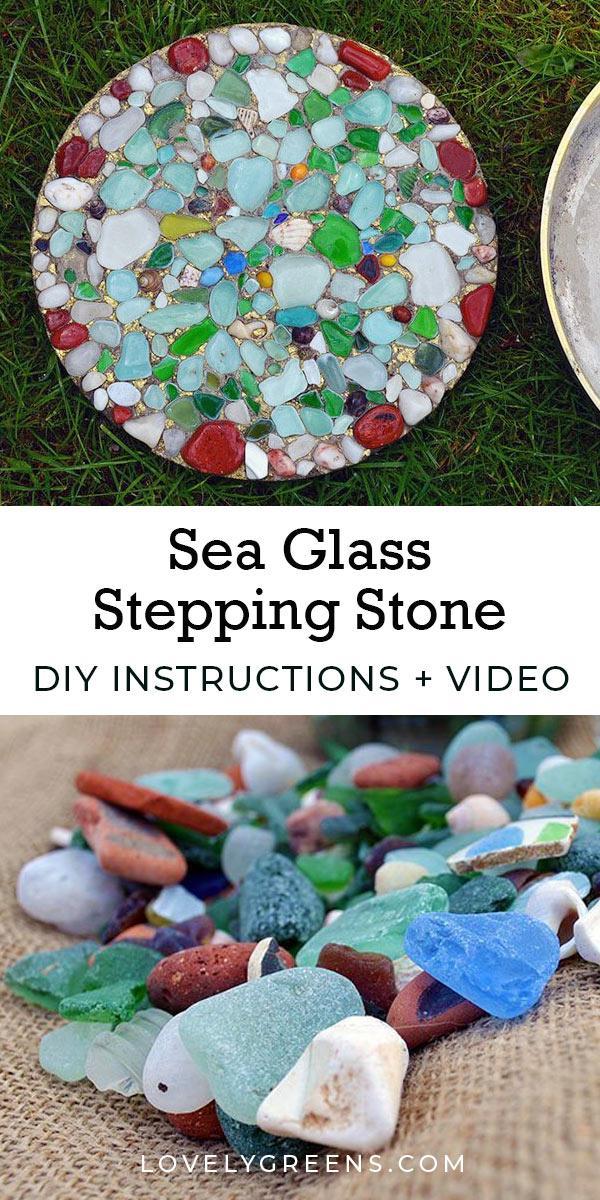 17 DIY Sea Glass Stepping Stone