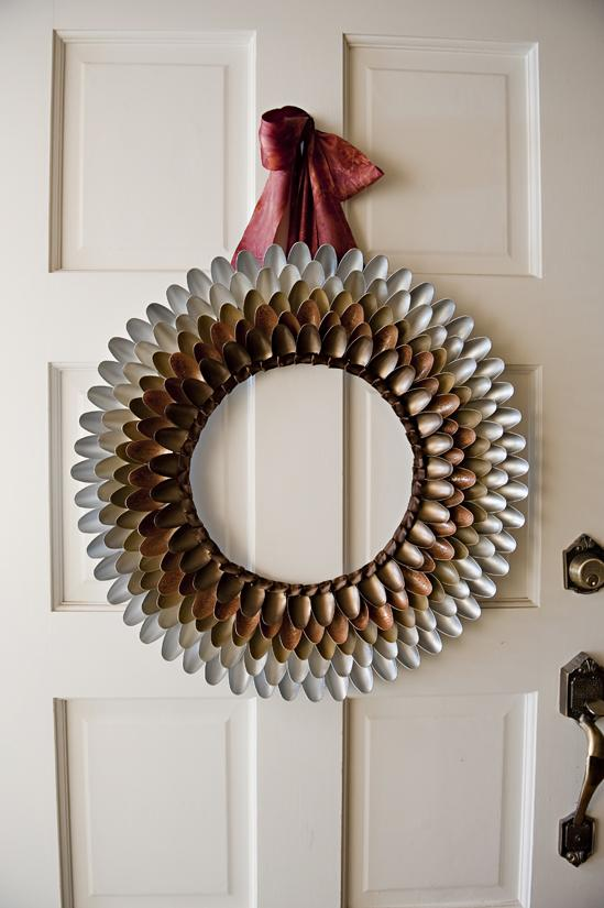2 Fall Wreath Out Of Plastic Spoons