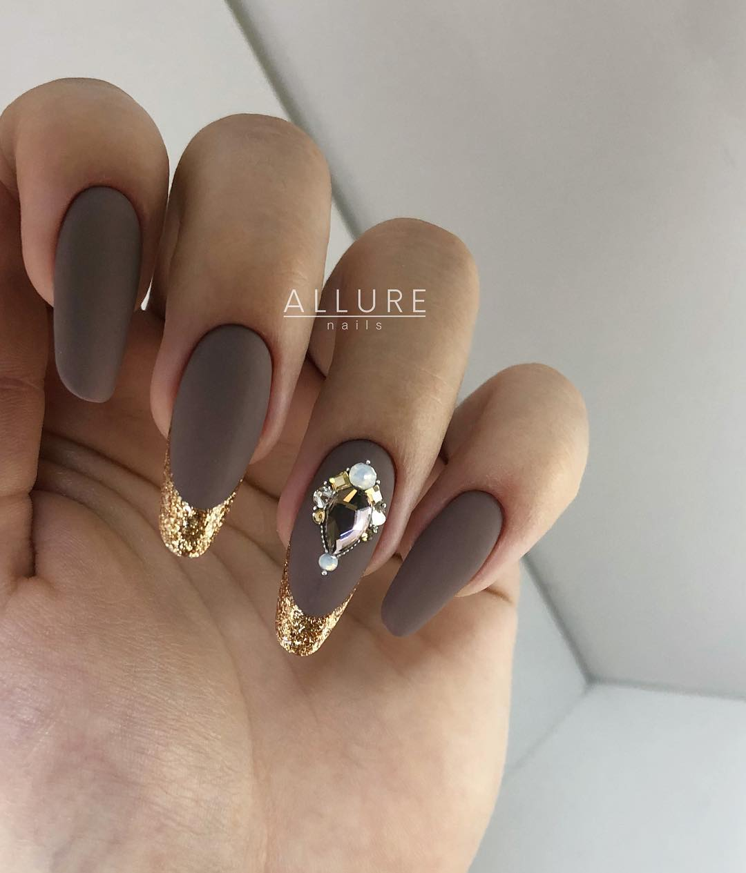 2 Matte Almond Shaped Nail Designs