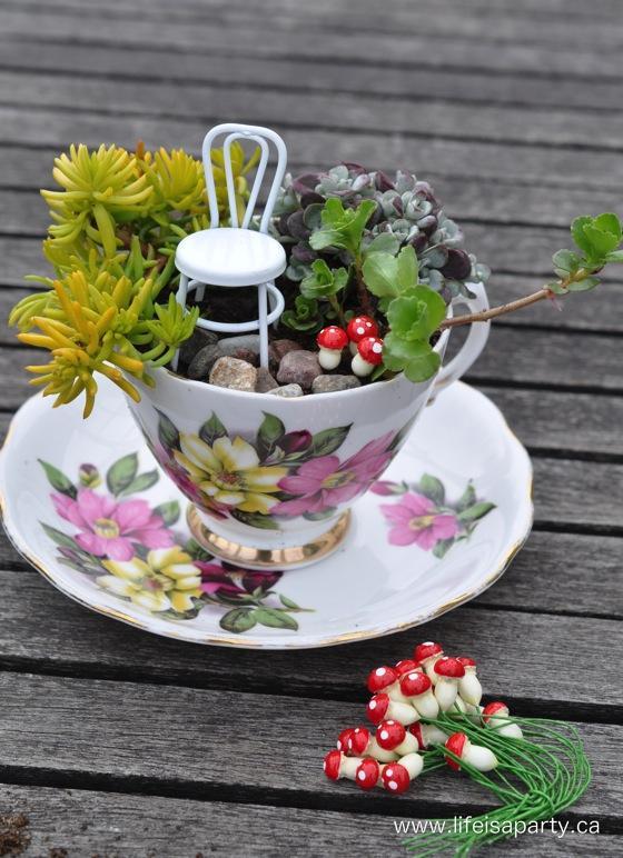 2 Teacup Fairy Garden