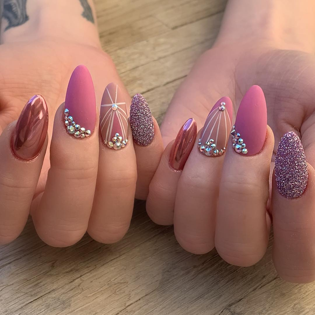 20 Matte Almond Shaped Nail Designs