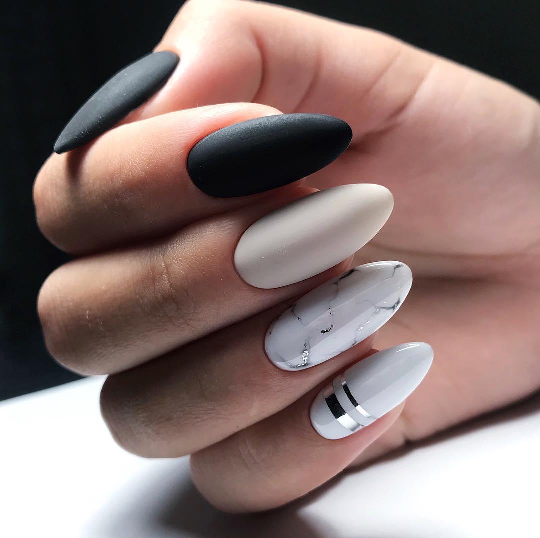21 Matte Almond Shaped Nail Designs