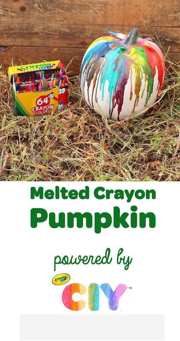 21 Melted Crayon Pumpkins