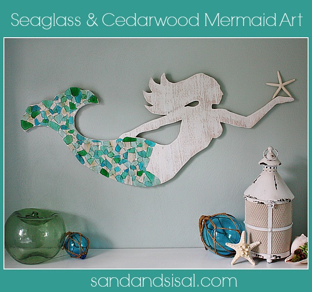 21 Seaglass and Cedar Mermaid Art