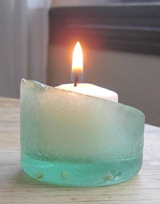 22 Sea Glass Bottle Bottom Candle Holder