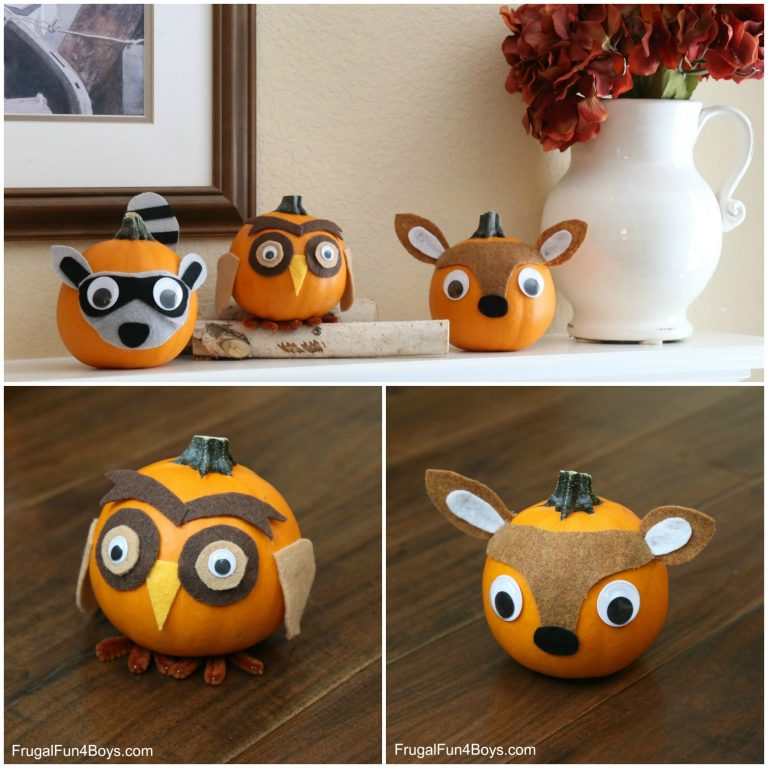 22 WOODLAND ANIMALS FELT DECORATED PUMPKINS