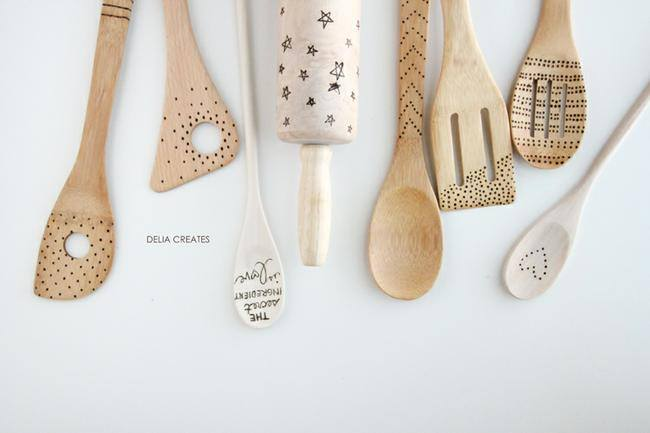 23 Kid Art Etched Wooden Spoons