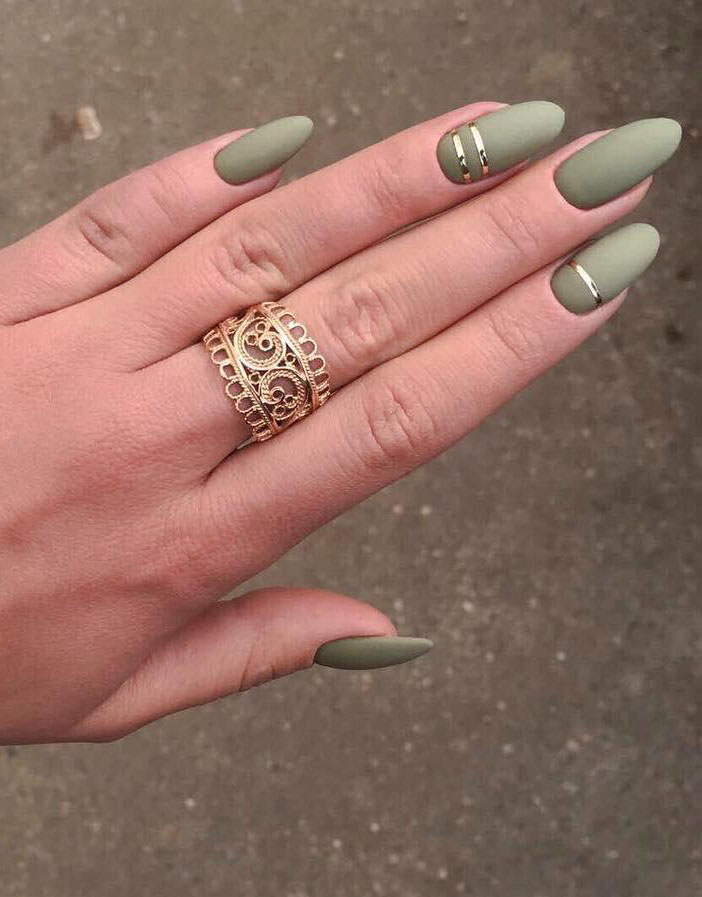 23 Matte Almond Shaped Nail Designs