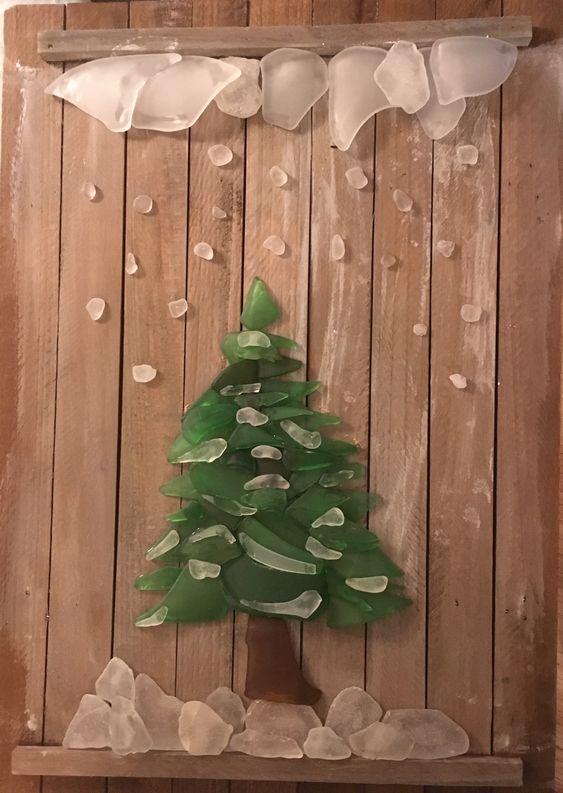 23 Sea glass Christmas tree