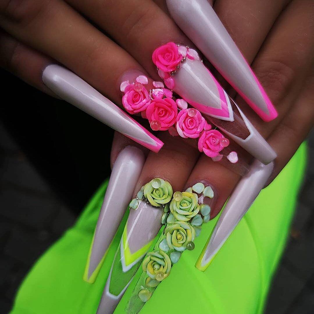 24 3D Flower Nail Art Designs