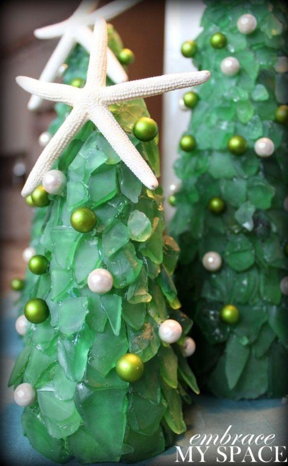 24 sea glass Christmas trees
