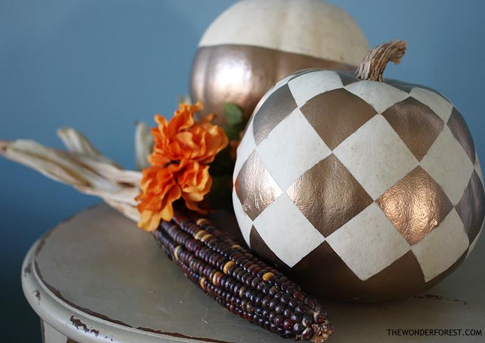 25 Checkered Gold Pumpkin