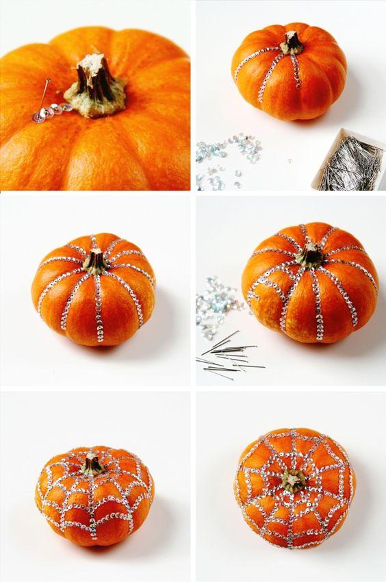 26 Diy Sequin Decorated Pumpkins