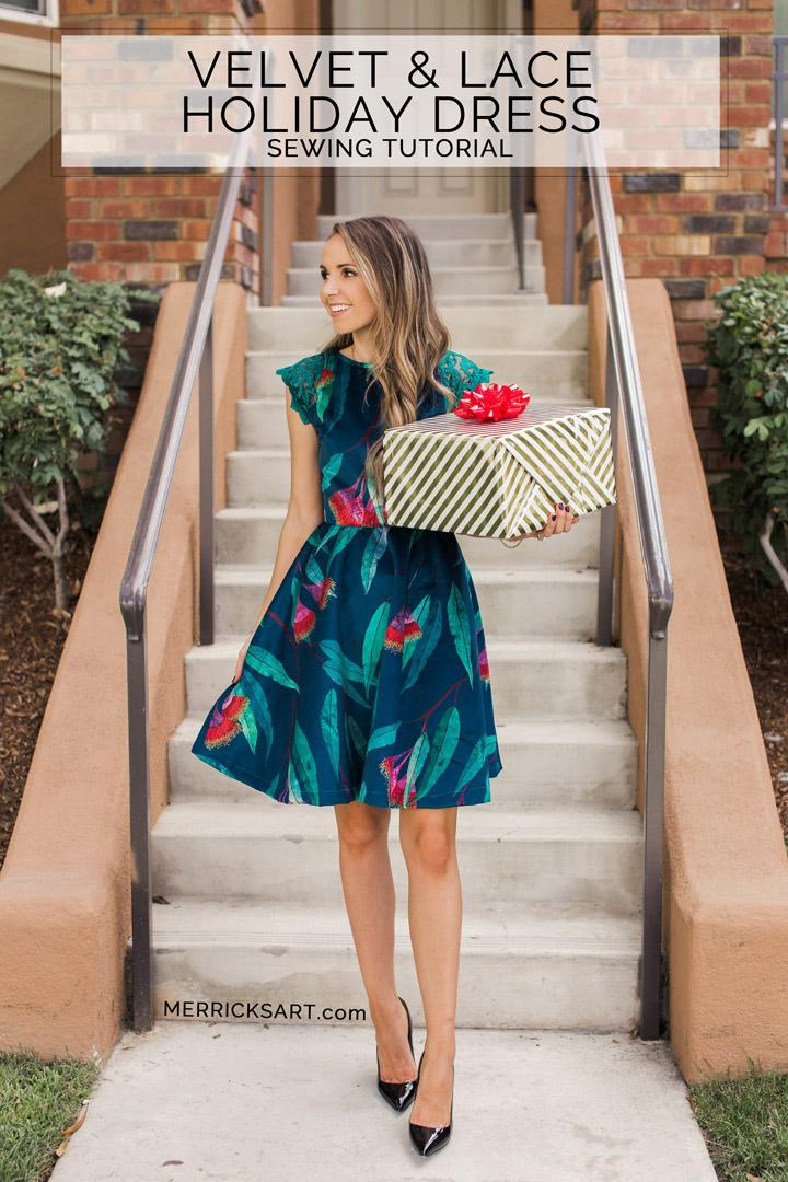 27 VELVET AND LACE HOLIDAY DRESS SEWING TUTORIAL