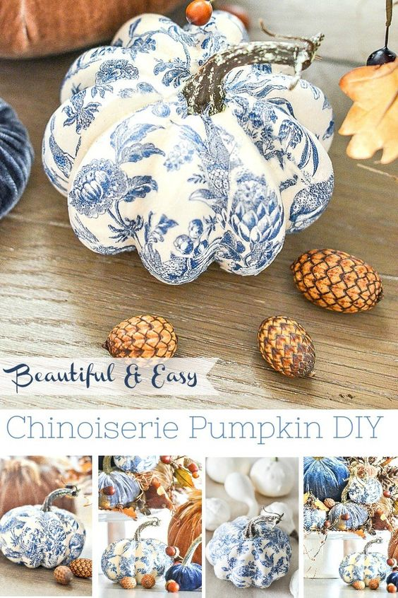 28 BEAUTIFUL BLUE AND WHITE PUMPKIN DIY