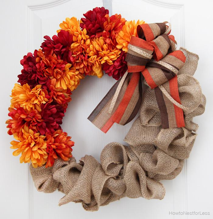 28 Fall Burlap and Flower Wreath