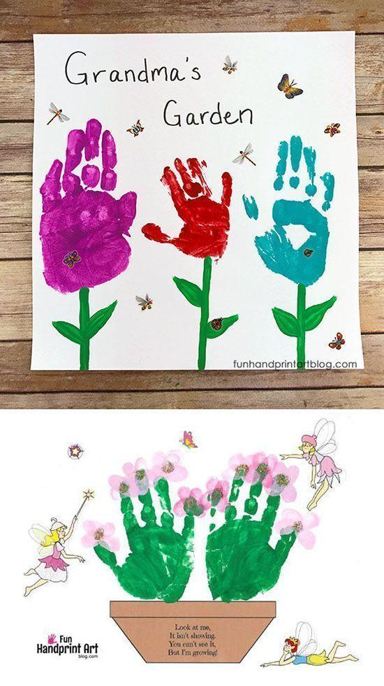 29 Grandmas Garden Handprint Keepsake