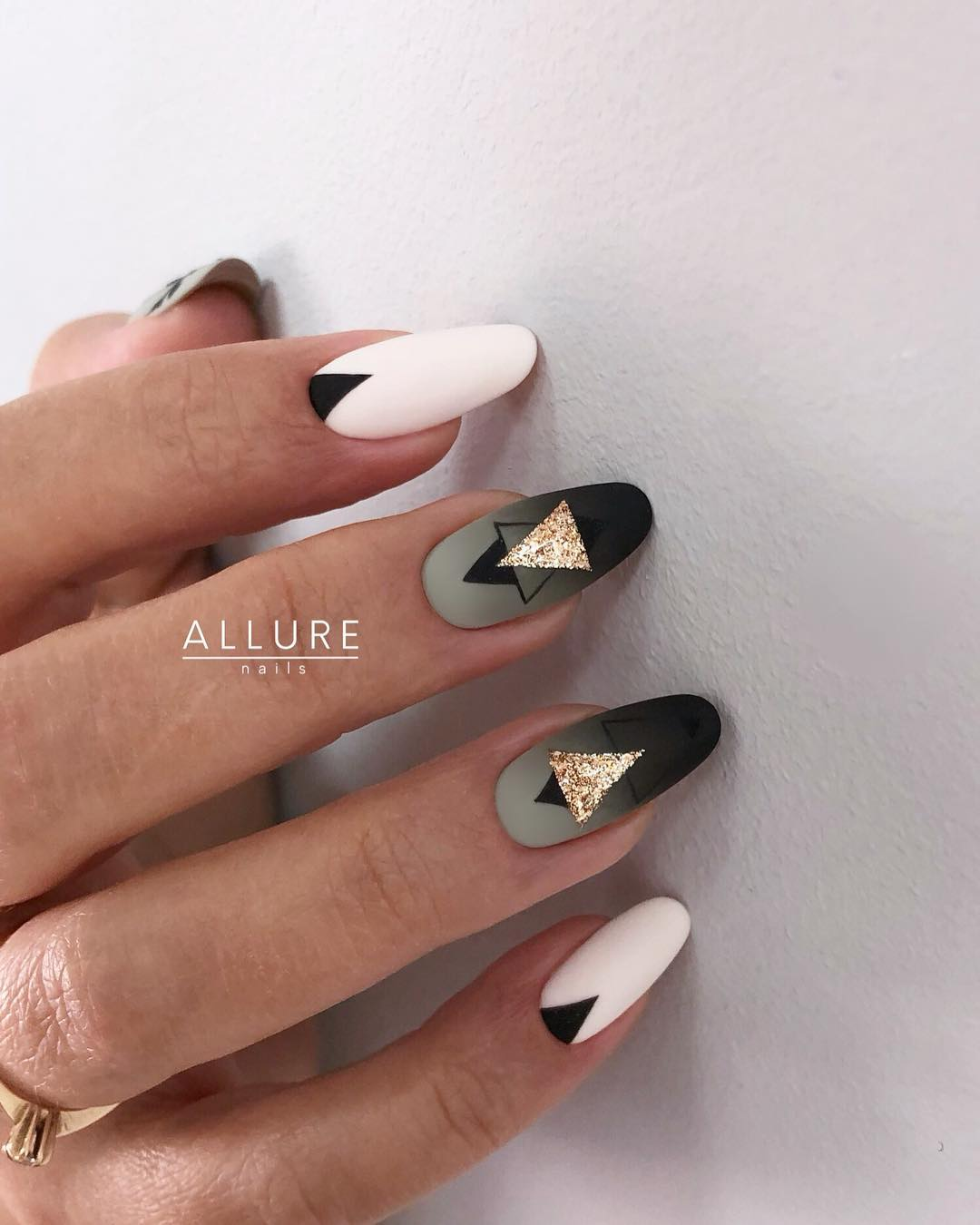3 Matte Almond Shaped Nail Designs