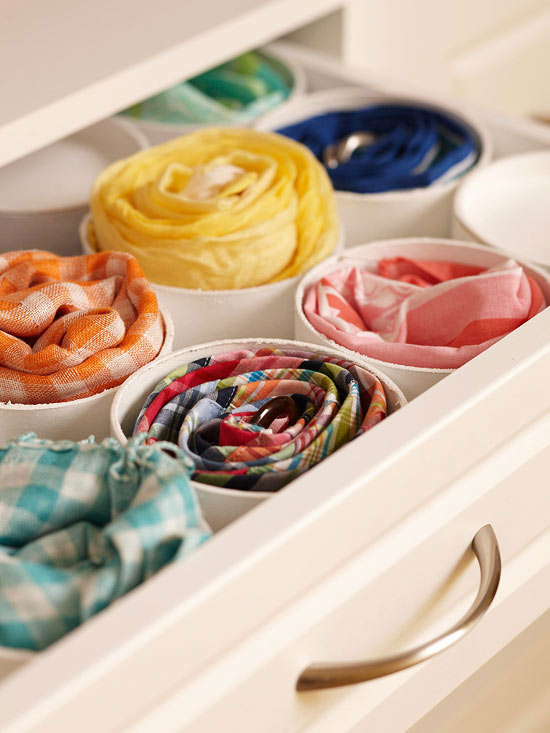 3 Use PVC pipe to organize your scarves and ties