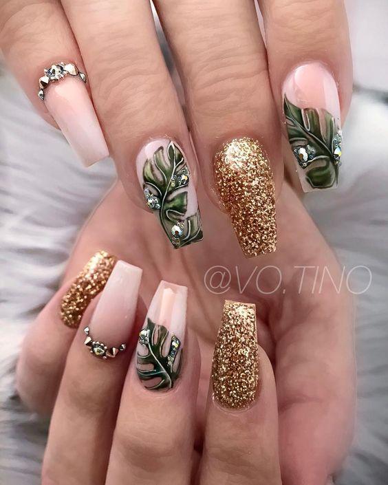 32 Leaf Nail Art Designs