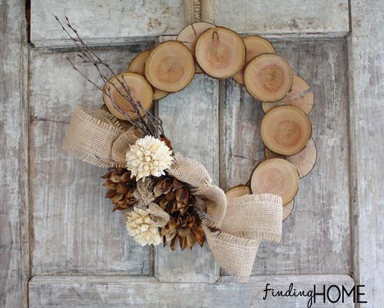4 Create Wood Burlap Natural Fall Wreath