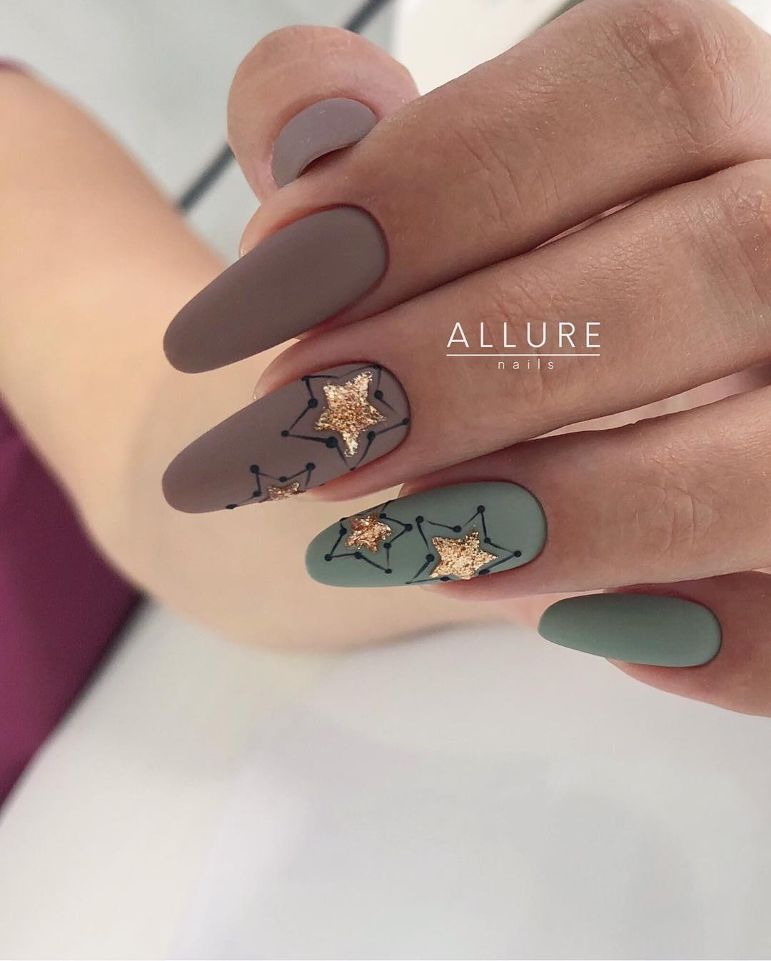 4 Matte Almond Shaped Nail Designs
