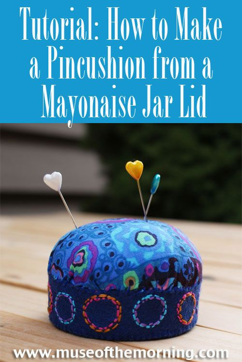 40 Mayonaise Jar Lid Pincushion