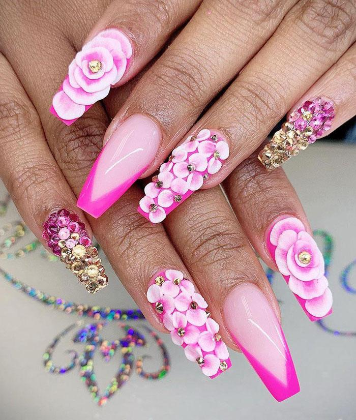45 3D Flower Nail Art Designs