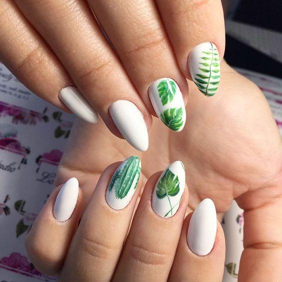 5 Leaf Nail Art Designs