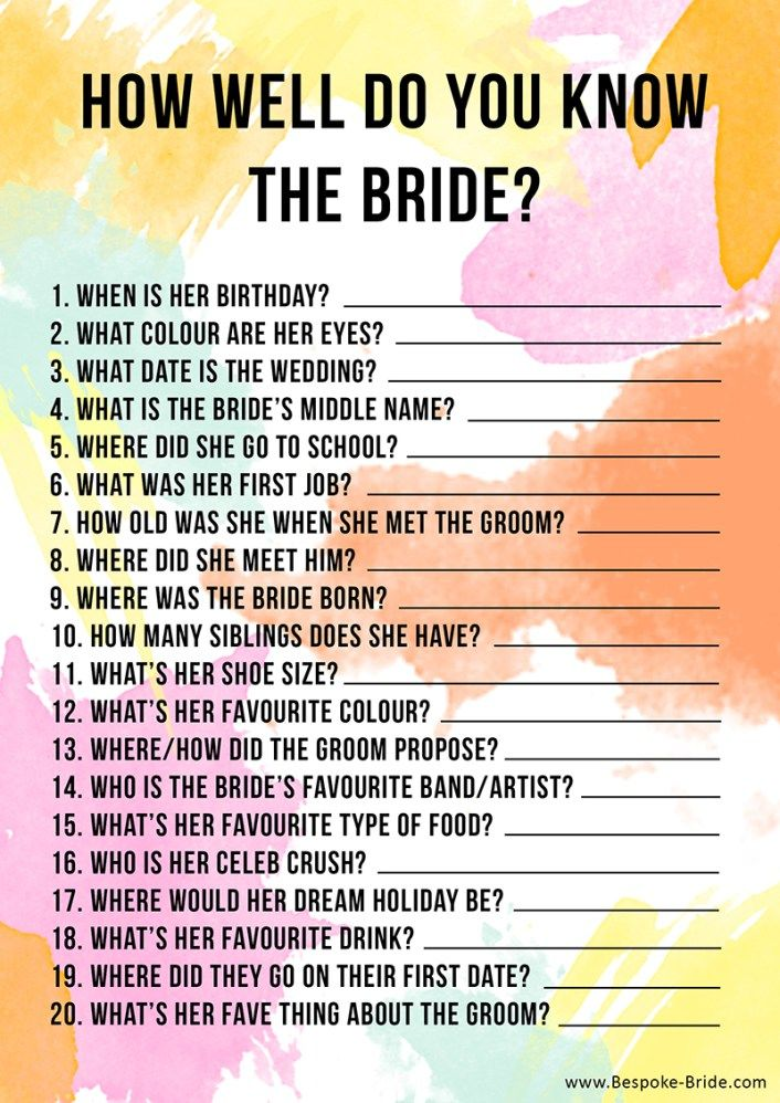 6 HOW WELL DO YOU KNOW THE BRIDE